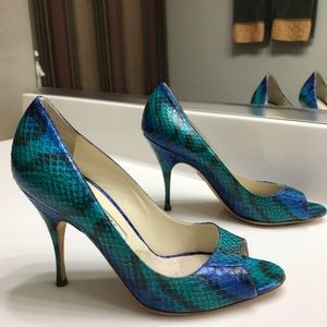 Brian Atwood Teal/Blue Italian Leather- 7 1/2
